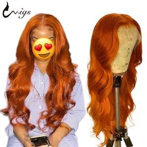 UWigs brésilienne vague de corps perruque colorée perruque de cheveux humains Transparent Remy Perruques 13x4 Lace Front Wigs Human Pre plumé