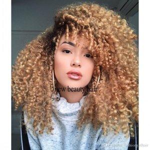 Mel loira Ombre 200 Densidade sintética rendas frente Wigs Kinky Curly PrePlucked 360 rendas frontal peruca para preto mulheres com cabelo do bebê