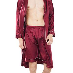 Mens сна Низ пижамы Мужчины белье Твердая Silk Satin боксёры Ночное пижамы