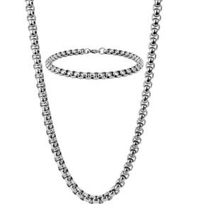 5mm Rolo Chaîne Collier + Bracelet Ensemble de Bijoux Pour Hommes Lien De Câble Ensemble de Bijoux En Acier Inoxydable Argent pour Hommes