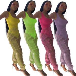 Kadınlar seksi Onesies organze iki parçalı setler tulum tulumlar yaz moda elbise giyim BODYCON cep pantolon görüyorum uzun pantolon