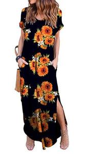 16 Renkler Kadın Uzun Günlük Elbise Katı Renk Bölünmüş Cep Moda Bohem Çiçek Maxi Yaz Elbise V-Yaka Müslüman Elbise XXL DHL Ücretsiz Baskı
