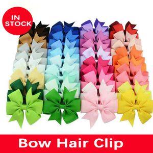 Ücretsiz kargo 40 renkler 3 inç sevimli nervürlü şerit saç yay ile klip bebek kız saç pin butik saç aksesuarları parti hediyeler ile