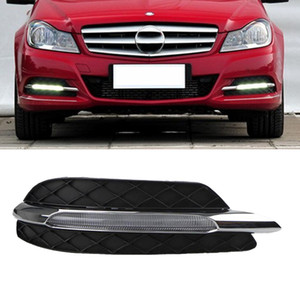 1 Pair DRL Daytime Running Lights Fog head Lamp cover For Mercedes Benz W204 C200 C260 C300 C CLASS 2011 2012 2013