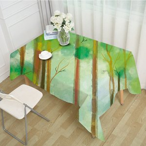 New green forest table cloth hot digital printing polyester tablecloth for dinning table