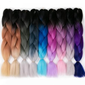 Fashion 24Inch 100g Pack Synthetic Jumbo Braids hair Ombre Crochet Braiding Hair Extensions African Hairstyle Synthetic Hair Extensions