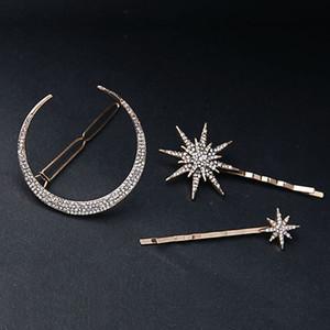 2019 Branded Design Star Moon Rhinestone Pinza de pelo Pin Accesorios de moda Joyería de las mujeres