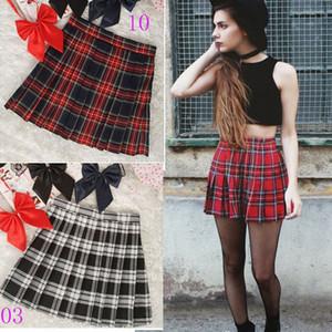Fardas formal estilo de cintura alta plissada saias Mulheres coreano A-Line saias curtas Escola Tartan Kawaii Plaid Saia Saias