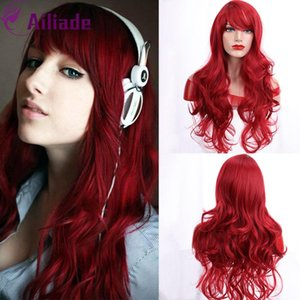 AILIADE 2020 Long Wavy Synthetic Hair Bangs Heat Resistent Fiber Red Color For Female African American Party Cosplay