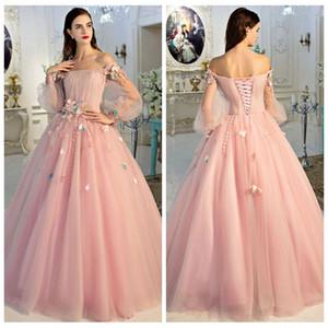 Prom2k19 Off-a-ombro Tulle Prom-de-rosa A-Line com flores Handmade Pavimento Length renda acima para trás Vestidos longos com mangas