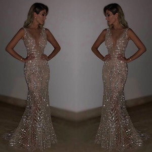 Gold Silver Sexy V Neck Backless Sequin Bling Mermaid Party Dress Women Summer Bodycon Dresses Women Clothes 2019