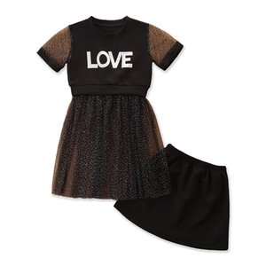 Designer Kids Baby Girl Dress Clothing Sets Crew Neck Panelled Tops Letter Printed + Mesh Skirts Summer Style Baby Girls 2 Piece Outfits