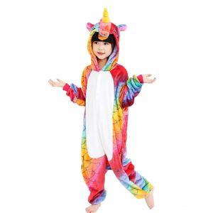 EOICIOI flanela animal Unicórnio Crianças Meninos Pijama Bebé Kids Clothing Meninas Pijamas capuz Crianças Pijamas dos desenhos animados Cosplay bebê Pijamas I