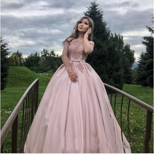 Charming Pink A Line Wedding Dresses Off the Shoulder Long Sleeves Sweep Train Lace Appliqued Formal Bridal Party Wear Wedding Gowns
