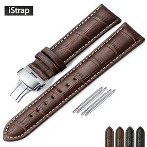 iStrap couro genuíno pulseira borboleta Buckle Bandas Croco grão pulseira de relógio dimensionado em 12 13 14 16 17 18 19 20 21 22 24 milímetros Y191105