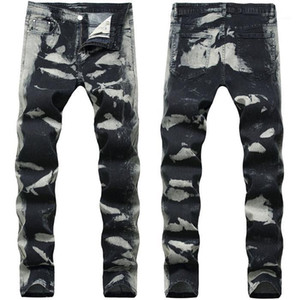 Gray Spots Mens Pencil Jeans Fashion Stretch Long Designer Pants Mid Waist Print Mens Trousers