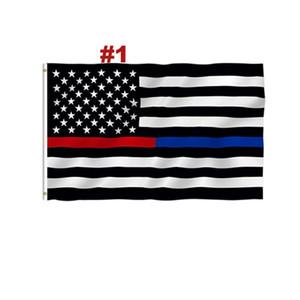 DHL gratuito Blue Line USA Flags 3 por 5 Pé Fino Flag Linha Vermelha US Branco e preto Bandeira Azul americano com guarnições de latão 4 estilo