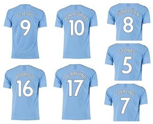 Criar Cidade 20-21 Thai Qualidade Customied 9 G.Jesus Kun Agüero 10 De Bruyne 17 Rodrigo 16 7 Sterling Futebol Shirt, homens Futebol visto