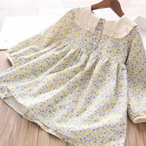 Girls floral printed dress 2020 fall new children ruffle square lapel long sleeve dress Rural style kids cotton pleated dress