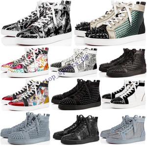2020 Tasarımcı Lüks Kırmızı Bottoms ayakkabı Erkekler Kadınlar Çivili Dikenler platformu spor ayakkabısı bağbozumu Gerçek Deri gündelik perçin Sneaker boyutu 36-47