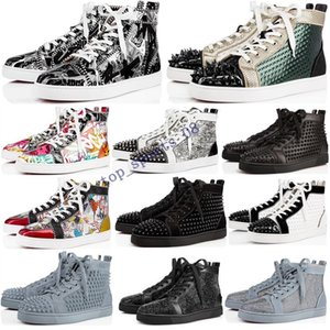 2020 Designer Luxe Chaussures Hommes Femmes Red Bas clouté baskets plate-forme Spikes Vintage en cuir véritable rivets occasionnels taille Sneaker 36-47