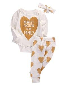 3pcs ensemble de noël automne printemps nourrisson bébé filles coeur famille barboteuse coton + pantalon + bandeau 3pcs tenues ensemble
