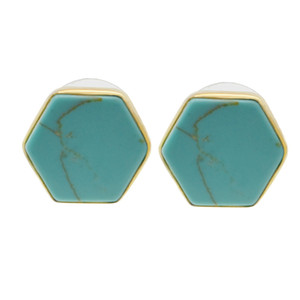 Natural stone geometric earrings hexagonal ladies charm temperament fashion earrings