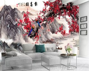 3d Mural Wallpaper Ink Painting Landscape Red Plum Painting Home Decor Living Room Bedroom Wallcovering HD Wallpaper