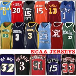 Hombres Duke NCAA Iverson Jersey azul baloncesto de la universidad Morant 23 Michael Antetokounmpo Rodman 12 JAWilliamson
