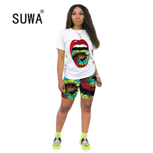 SUWA European popular casual women suit colorful print t-shirt and matched shorts female summer tracksuit 6 color T200606