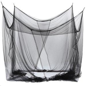 4-Köşe Queen / Kral ölçekli Oda için örgü Canopy Sivrisinek Net Yatak 190 * 210 * 240cm (Siyah)