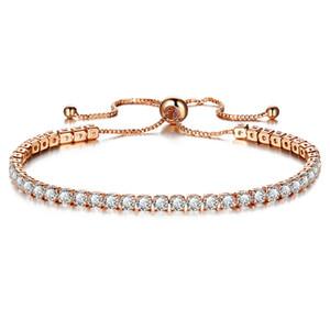 Zirkon Kristall Armband Silber Rose Gold Voller Strass Charme Hand Schmuck für Mädchen Weibliche Mode Elegante Frauen Armbänder Armreif Geschenk Rosa