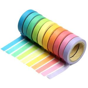 Japenese Style Candy Colors Adhesivo Washi Rainbow Tape DIY Memo Washi tape Wash Papeleria School Stationery Store Accesorio de oficina
