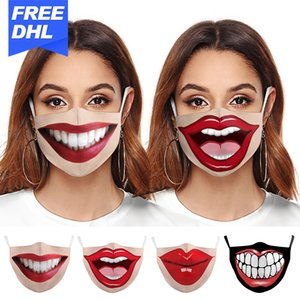 20pcs new hot party Manufacturers sell digital printing adjustable protective masks dustproof and smog filter into a population mask