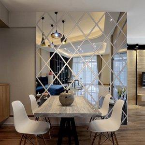 Diamantes triángulos acrílico etiqueta engomada del espejo decoración de la casa 3d diy tatuajes de pared arte para sala de estar decoración para el hogar q190531