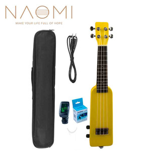 "NAOMI 21"" Electric Ukulele Uke Kit + Tuner NM-86 W Gig Bag Silent Electric Ukulele Soprano Ukulele Yellow New"