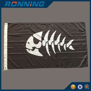 Pirate Fish Flag Banner 3x5 Ft High Quality Polyester Printed Fish Skull Pattern 1.5x0.9m for Home Boat Use, free shipping