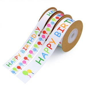 1.5cm Ballon Printed Birthday Ribbon Happy Birthday Alphabetic Cake Decorated Stain Ribbon 20yard DIY Handmade Material