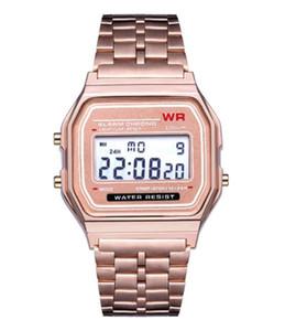 2019 Мода ретро Vintage золото Часы Мужские Электронные цифровые часы Светодиодные наручные платье Relogio FYMHM102 Мужчина для