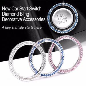 40mm Otomatik Araç Bling Dekoratif Aksesuarları Otomobiller Başlat Düğmesi Dekoratif Elmas Yapay elmas yüzüğü Çember Trim