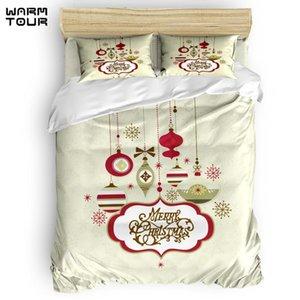 WARMTOUR Nevresim Merry Christams Günü Töreni Nevresim Seti 4'lü Yatak Seti Yataklar