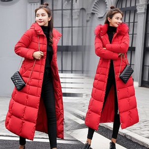 Hiver Nouveau style coton rembourré vêtements pour femmes X-longue sur le genou style coréen Slim Fit coton rembourré veste de manteau de fourrure Grande Co