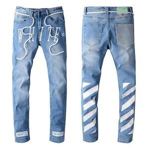 2020 Mens Designer Jeans Slim Fit Ripped Jeans Men Distressed Denim Joggers Knee Holes Washed Destroyed 22 style color Jeans men pants