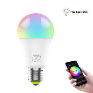스마트 전구, E27 WiFi LED 멀티 컬러 RGBCW 라이트 디 밍이 가능한 전구, Alexa 및 Google과 호환 가능, 9W (70W 상당)