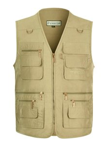 Plus Size Summer Sleeveless Mens Vests 16 Pockets Photograph Waistcoat Fishing Casual V Neck Homme Outerwear