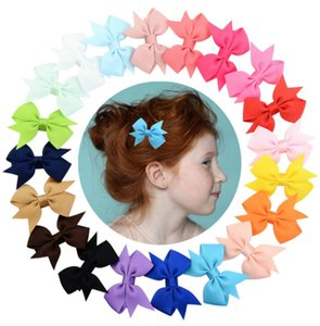 5.5cm Kids Barrettes Baby Hair Bows Barrettes Girls Boutique Bow Hair Clip Grosgrain Ribbon 20colors Bowknot Hair Clips GGA2328