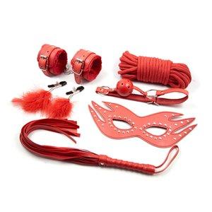 6 unids / set Rojo Juguetes Sexuales para Parejas Máscara de Cuero Boca Gag Látigos Esposas para Juegos Sexuales Cuerda Esclavo Pezón Abrazaderas Lencería Sexy Hot Erotic Toy