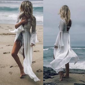 2020 neue reizvolle neue Baumwoll Long Beach Kleid Patchwork Spitze-Strand-Vertuschung Saida de Praia Kaftan Robe de Plage Plusgröße Badebekleidung Vertuschung Tuni