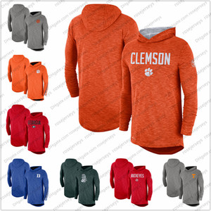 Erkekler NCAA Clemson Tigers 2019 Sideline Uzun Kol Kapşonlu Performans Üst Funda Grisi Turuncu Boyut S-3XL
