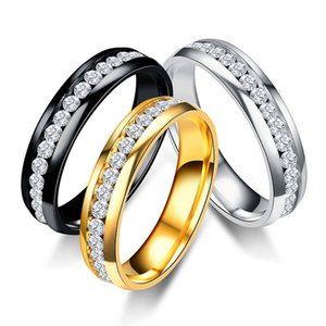 Higt Quality 3 Colors Unisex Simple Stainless Steel Rings Crystal Rings for Women Men Wedding Gifts
